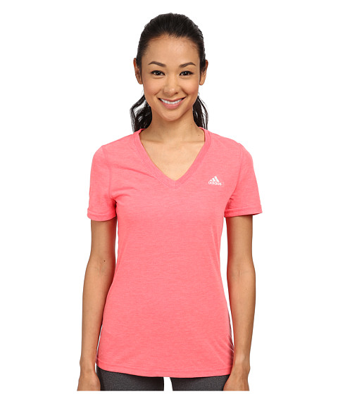 adidas - Ultimate S/S V-Neck Tee (Flash Red Heather/Matte Silver) Women