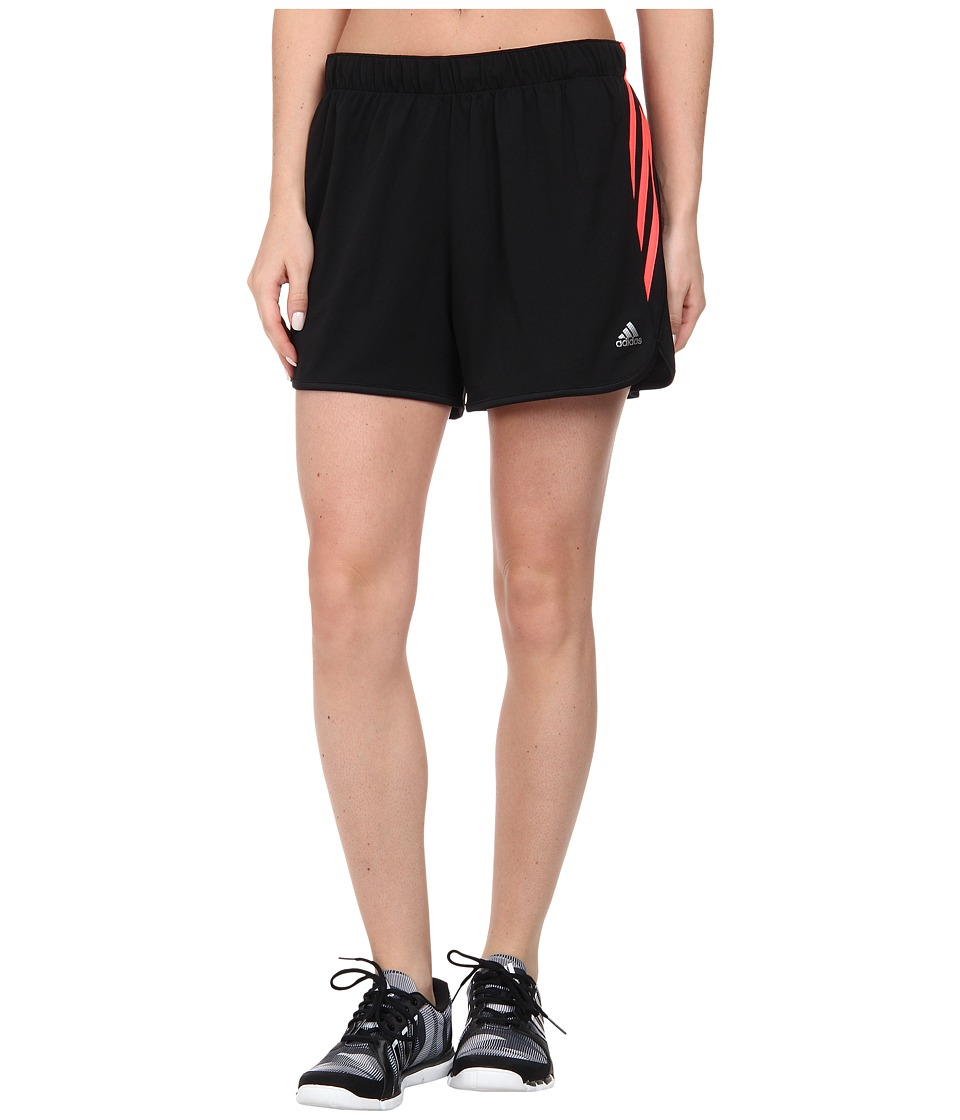 adidas - Ultimate 3-Stripes Knit Short (Black/Flash Red/Matte Silver) Women's Shorts