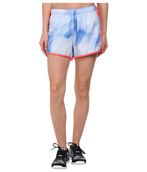 adidas - Ultimate Woven 3-Stripes Short - Sunlight Camo Print (Clear Sky Print/Semi Flash Red/Matte Silver) Women's Shorts