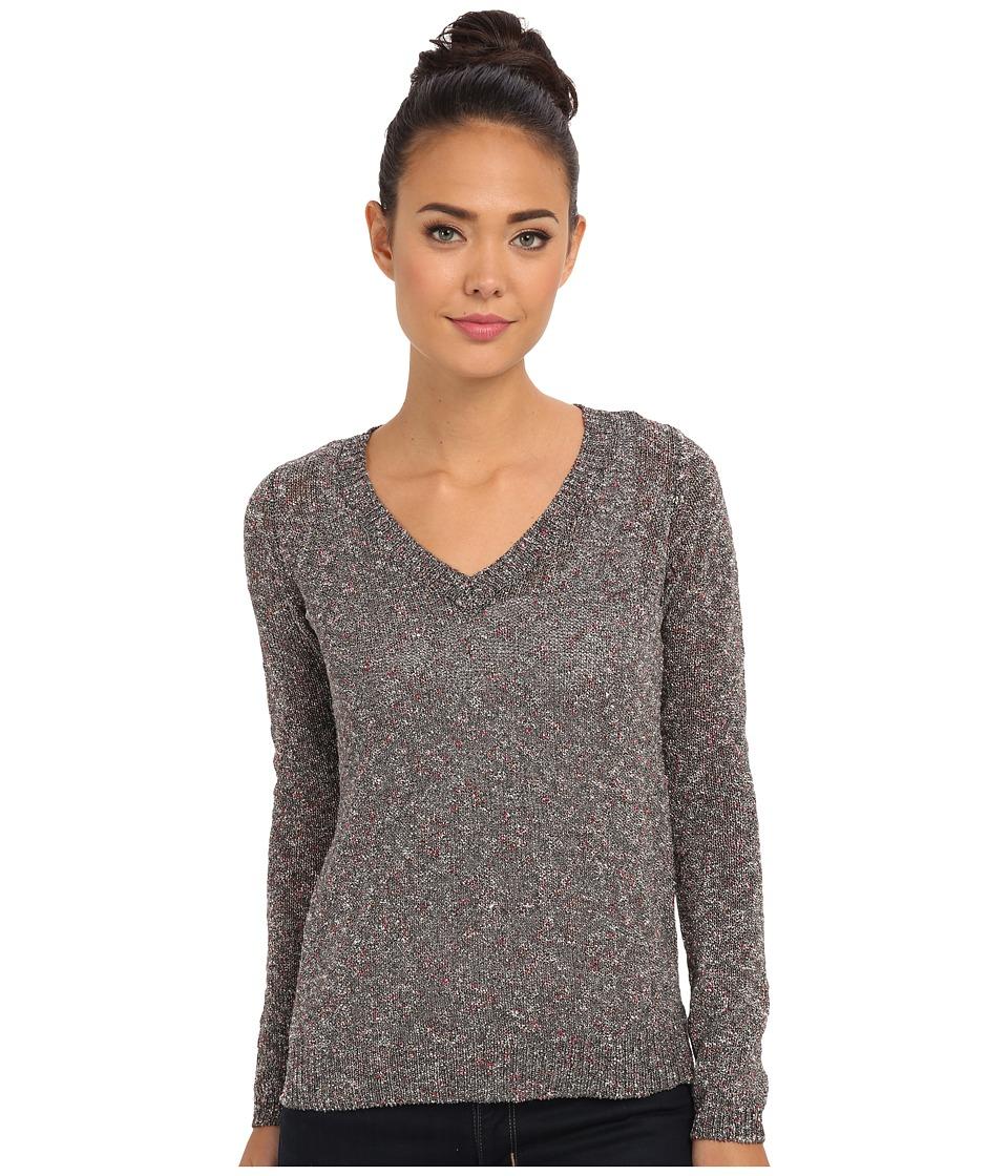 Sam Edelman - L/S Slub V-Neck Top (Black Multi) Women's Long Sleeve Pullover
