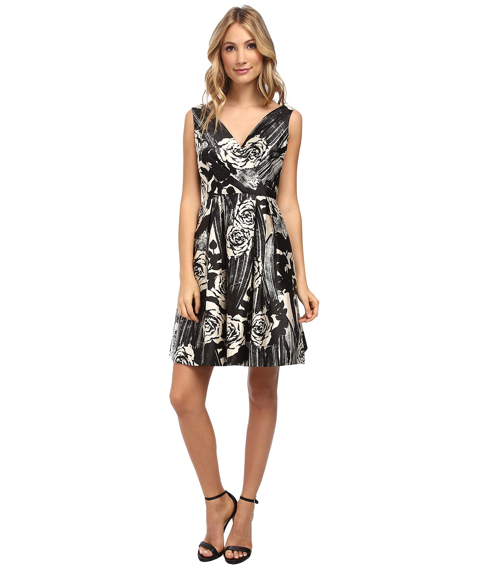 Donna Morgan - Tafetta V-Neck Fit and Flare Sleeveless Dress (Black/Pearl) Women's Dress