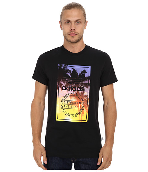 adidas Originals - Palm Tongue Label Tee (Black/Multicolor Print) Men