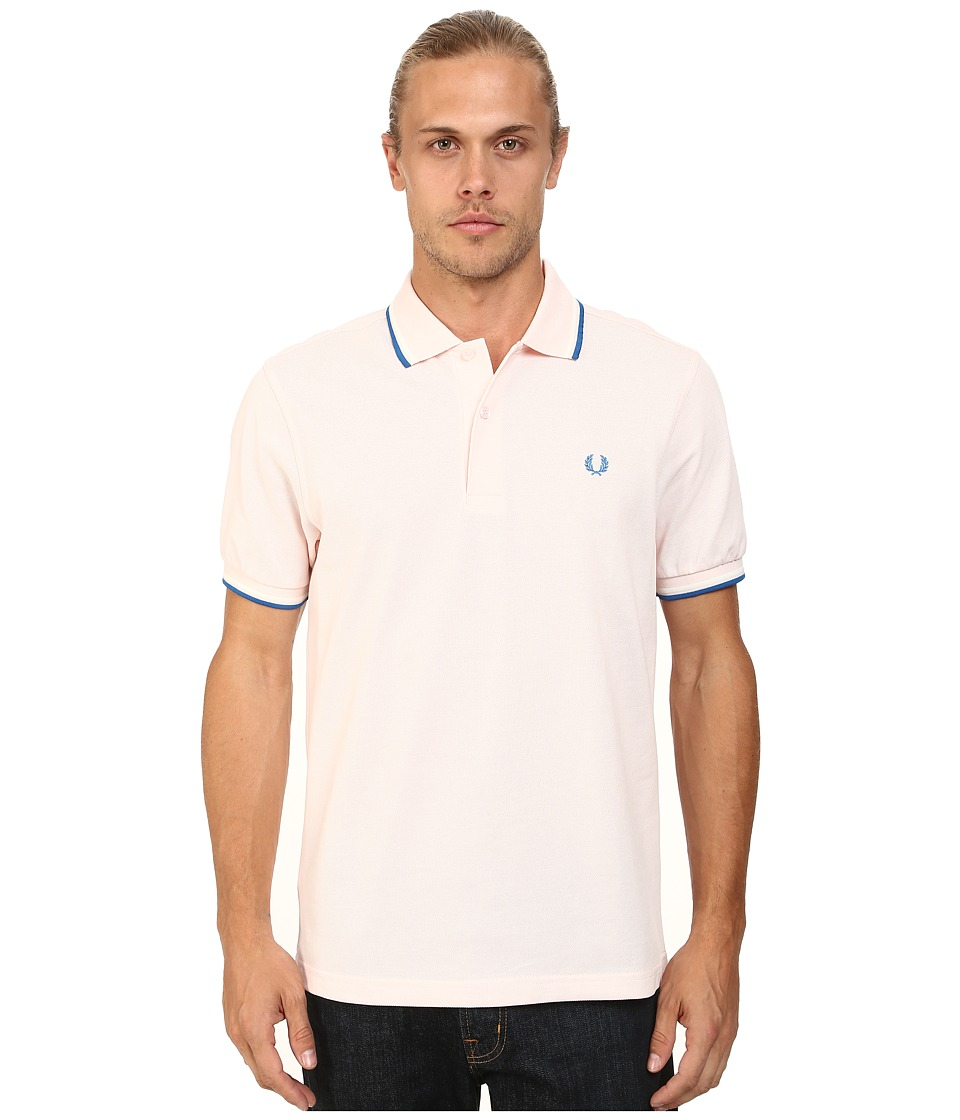 Fred Perry - Twin Tipped Fred Perry Polo (Soft Pink/Snow White/Imperial) Men's Short Sleeve Pullover