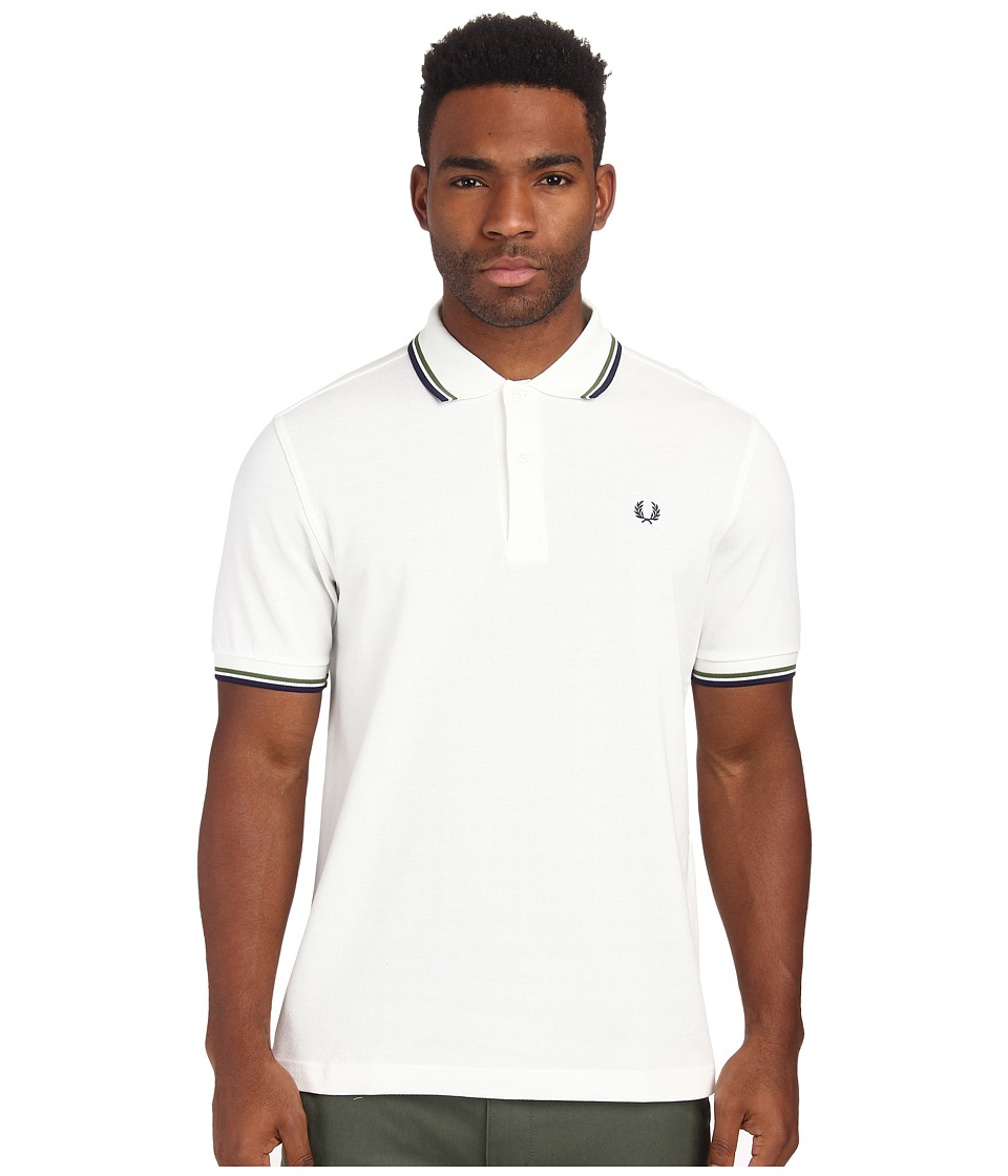 Fred Perry - Twin Tipped Fred Perry Polo (Snow White/Verde/French Navy) Men's Short Sleeve Pullover