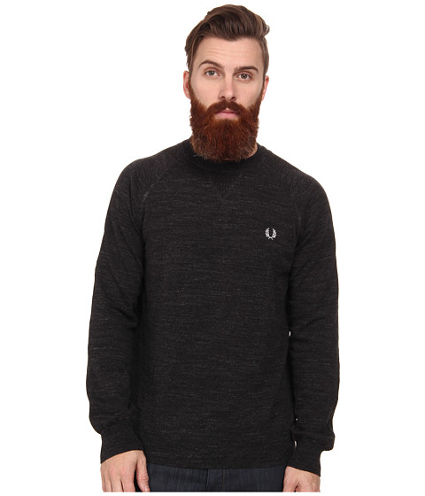 Fred Perry - Vintage Sport Crew Neck Sweater (Vintage Graphite Marl) Men's Long Sleeve Pullover
