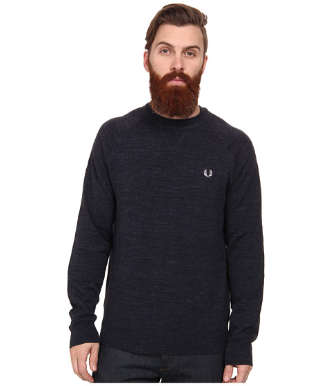 Fred Perry - Vintage Sport Crew Neck Sweater (Vintage Navy Marl) Men's Long Sleeve Pullover