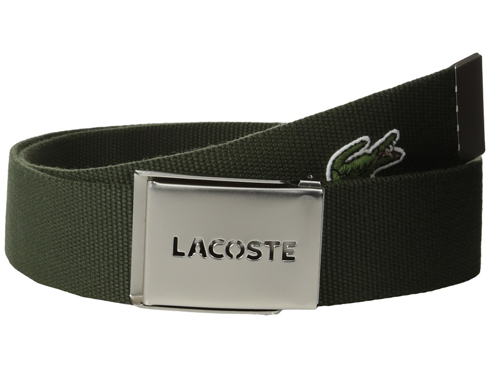 Lacoste - L.12.12 Textile Signature Croc Logo Belt (Baobab Green) Men's Belts