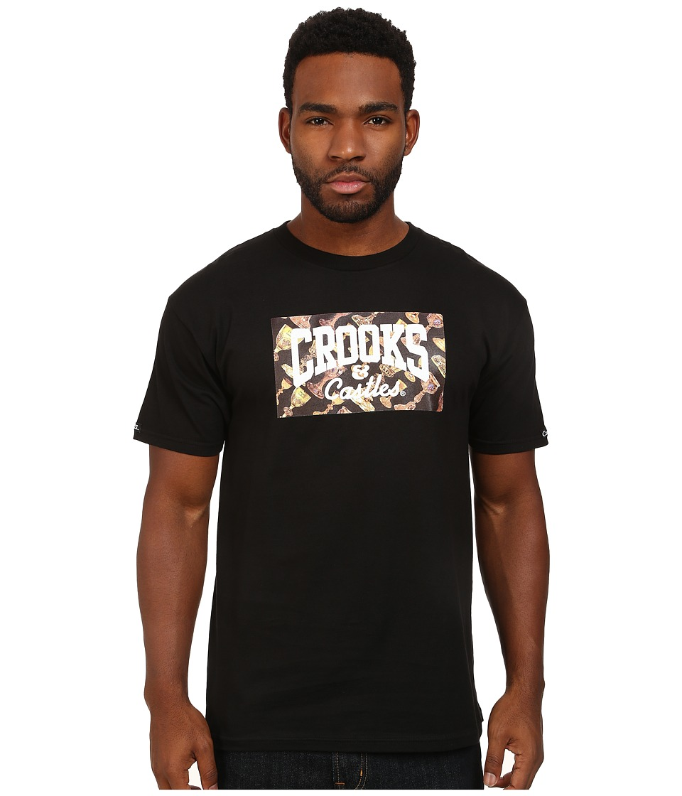 Crooks & Castles - Core Logo Pimp Cup Knit Crew T-Shirt (Black) Men's T Shirt