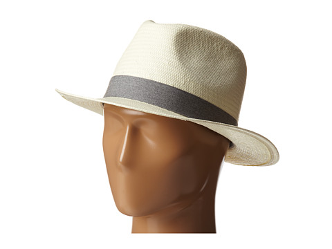 Lacoste - Straw Fedora Hat (Flour/Silver Chine) Caps
