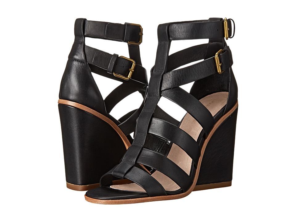 Pour La Victoire - Cecile (Black Polished Calf) Women's Wedge Shoes
