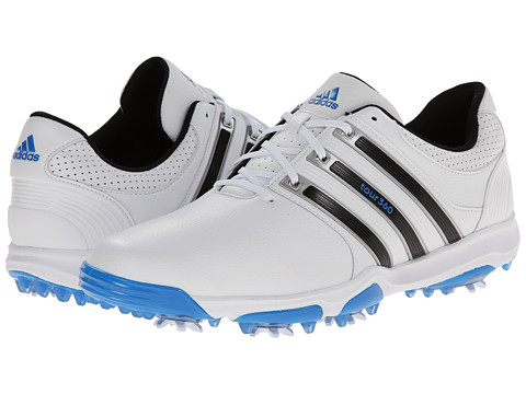 adidas Golf - Tour 360 X (White/Core Black/Bahia Blue) Men's Golf Shoes