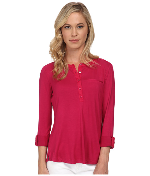 NYDJ Petite - Petite Key Item Pleat Back Knit Henley (Raspberry) Women's Long Sleeve Pullover