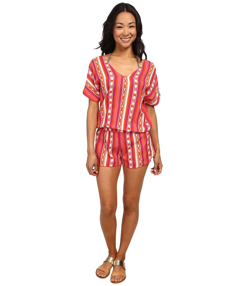 Roxy - Ikat Dream Romper Cover-Up (Ocean Breeze Ikat Orange) Women's Swimwear