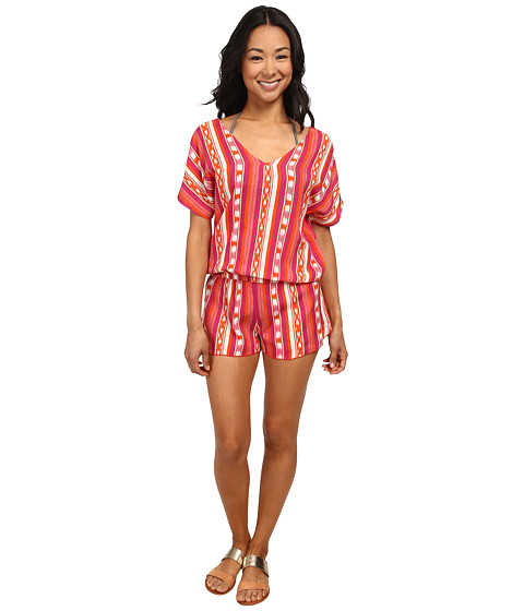Roxy - Ikat Dream Romper Cover-Up (Ocean Breeze Ikat Orange) Women