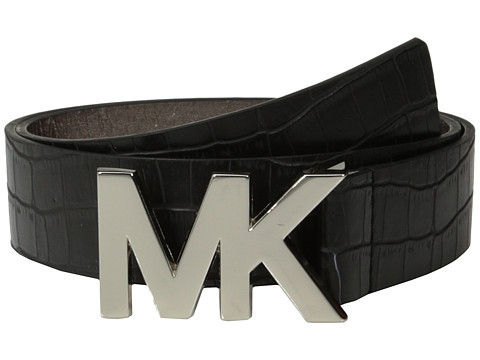 MICHAEL Michael Kors - 38mm Croc Embossed Panel w/ MK Plaque Buckle (Black) Women's Belts