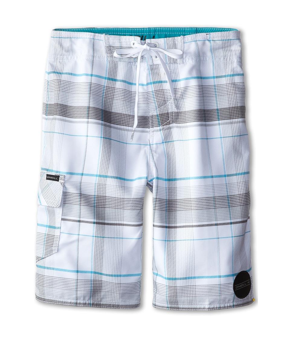 O'Neill Kids - Santa Cruz Plaid (Big Kids) (White) Boy's Swimwear
