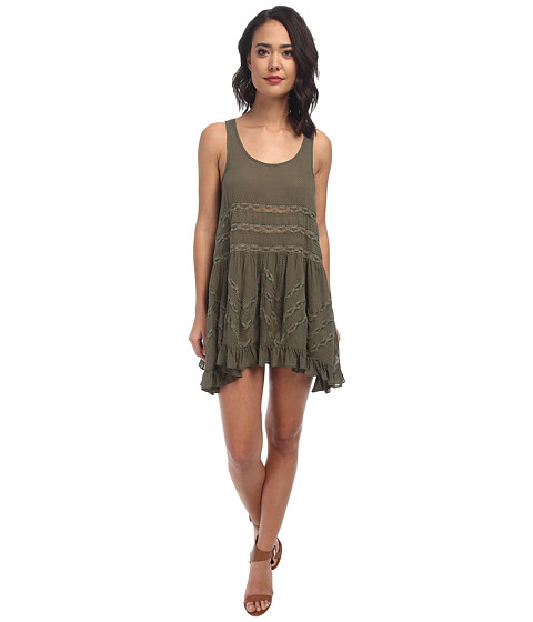 Free People - Voile Trapeze Slip (True Olive Combo) Women's Sleeveless