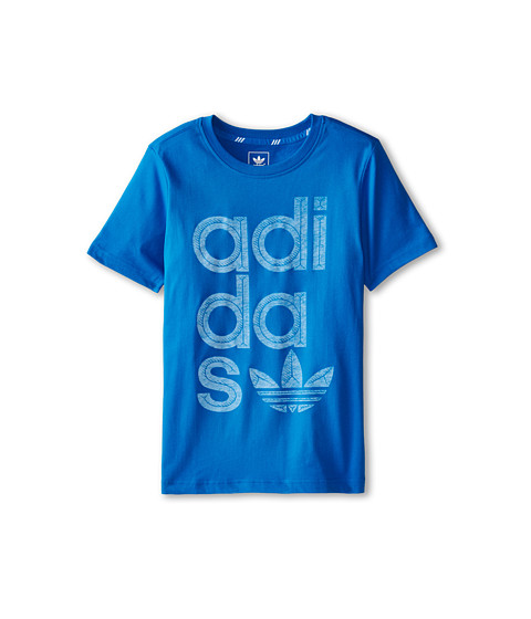 adidas Originals Kids - Reverse Print Wrap Logo Tee (Little Kids/Big Kids) (Bluebird/Blush Blue) Boy's T Shirt