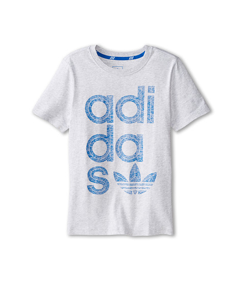adidas Originals Kids - Reverse Print Wrap Logo Tee (Little Kids/Big Kids) (Light Grey Heather/Bluebird) Boy