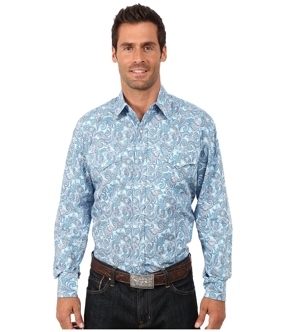 Stetson - Surfs Up Paisley Print On Poplin (Blue) Men's Long Sleeve Button Up