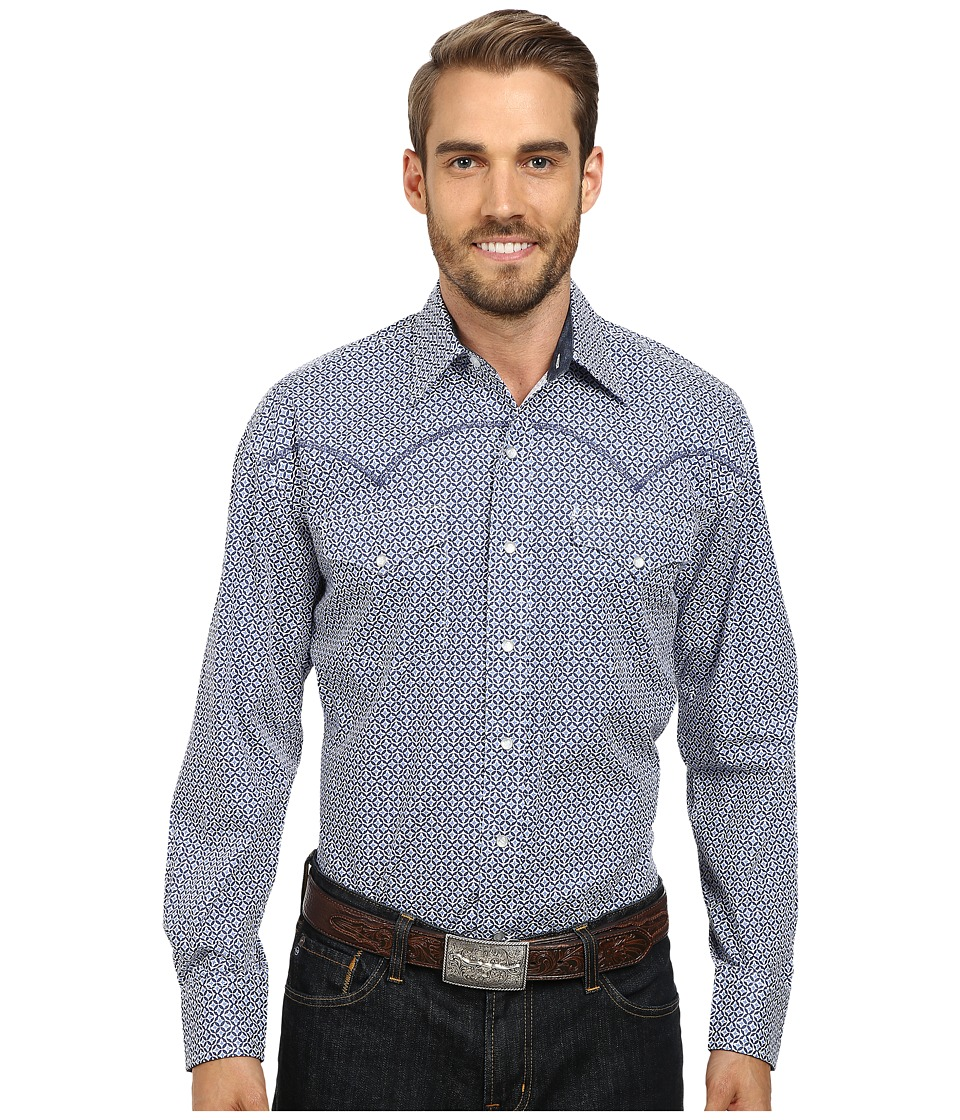 Stetson - Fleur De Lis Print On Poplin (Blue) Men's Long Sleeve Button Up