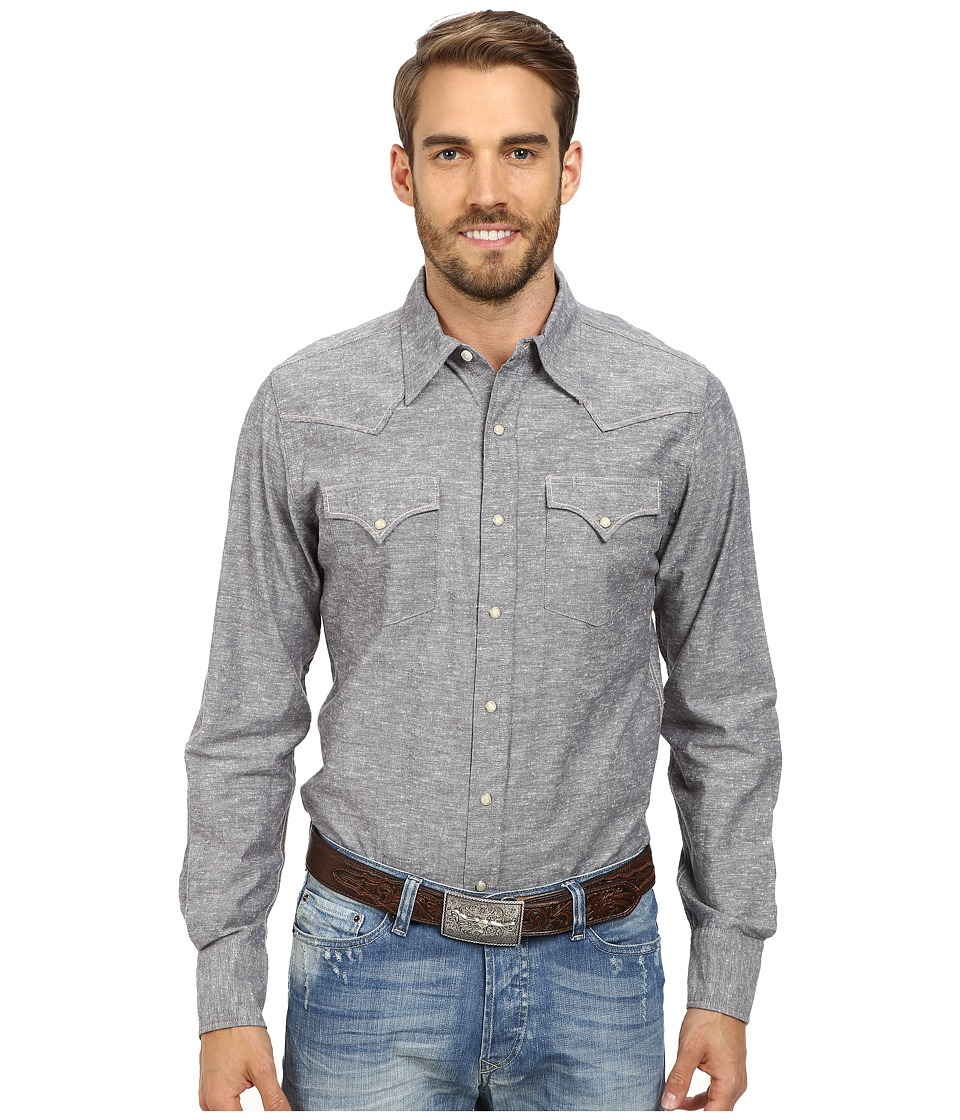 Stetson - Slub Chambray Top (Grey) Men's Long Sleeve Button Up