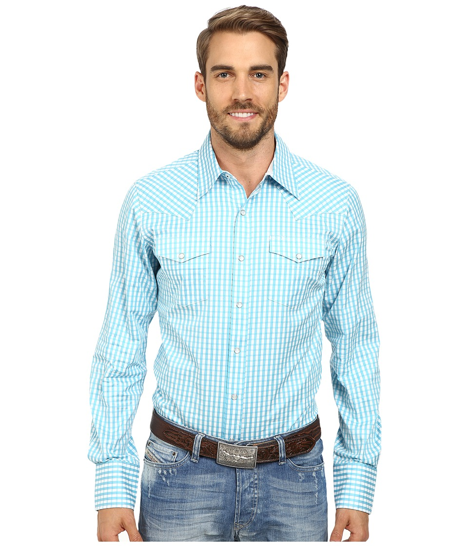 Stetson - Satin Check (Blue) Men's Long Sleeve Button Up