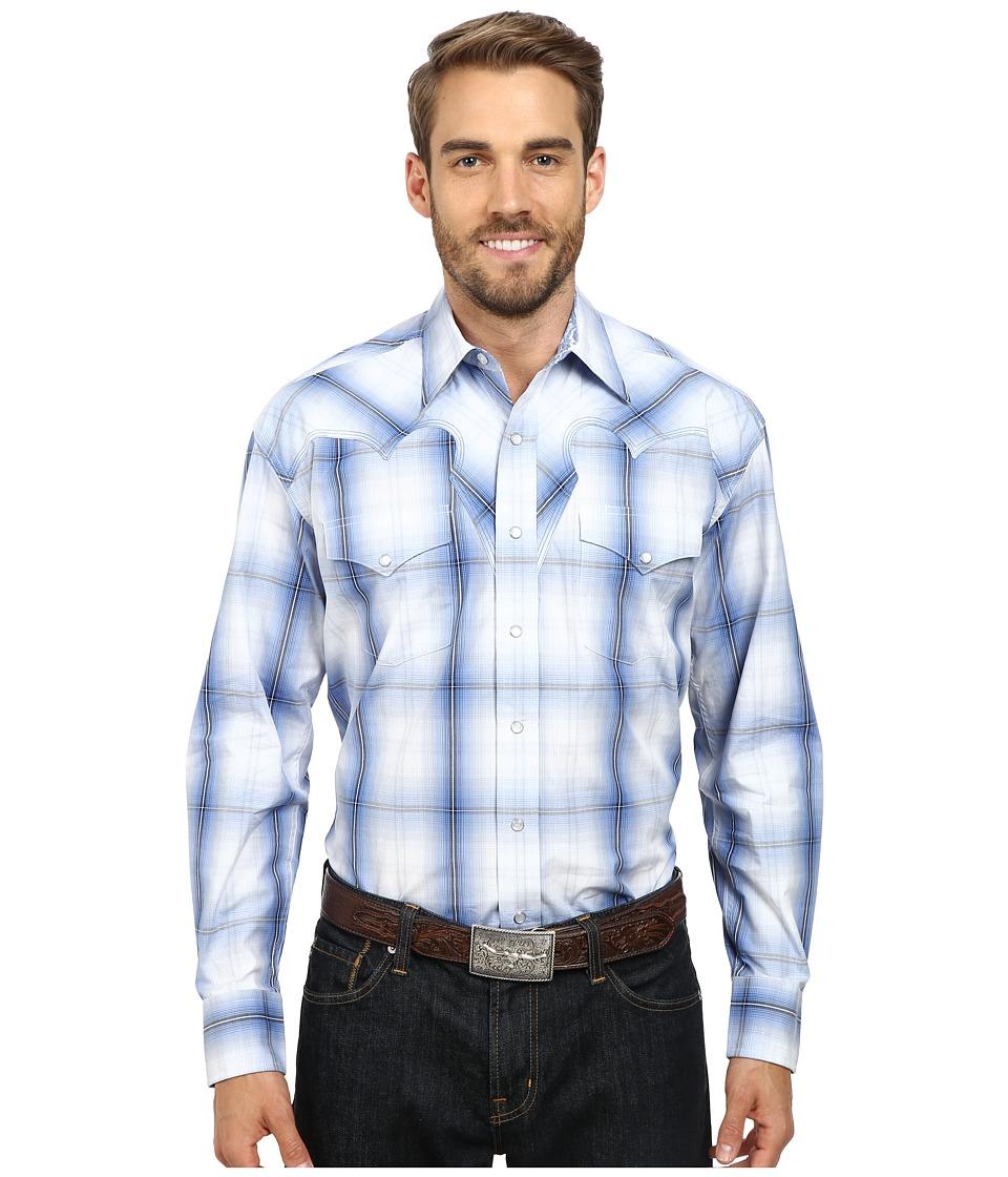 Stetson Hunters Plaid Flat Weave w- Satin Stripe Blue Mens Long Sleeve Button Up