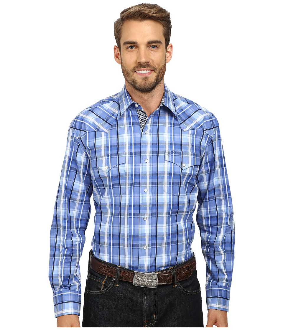 Stetson Squared Off Plaid Flat Weave w- Satin Blue Mens Clothing