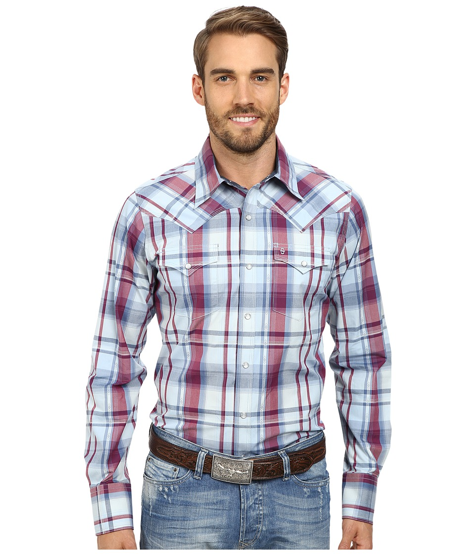 Stetson - Liberty Dobby Plaid (Blue) Men's Long Sleeve Button Up