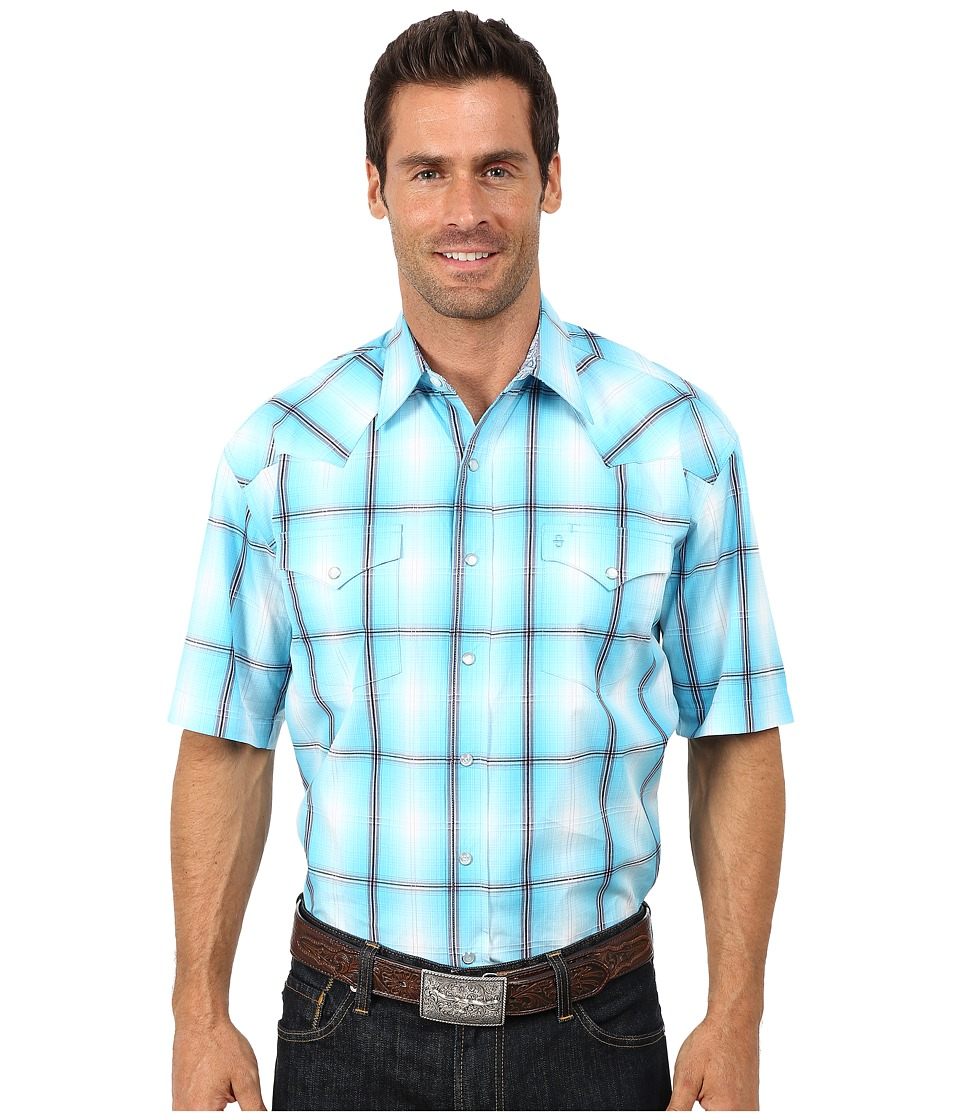 Stetson - Smokey Ombre Plaid Flat Weave w/ Satin (Blue 1) Men's Clothing