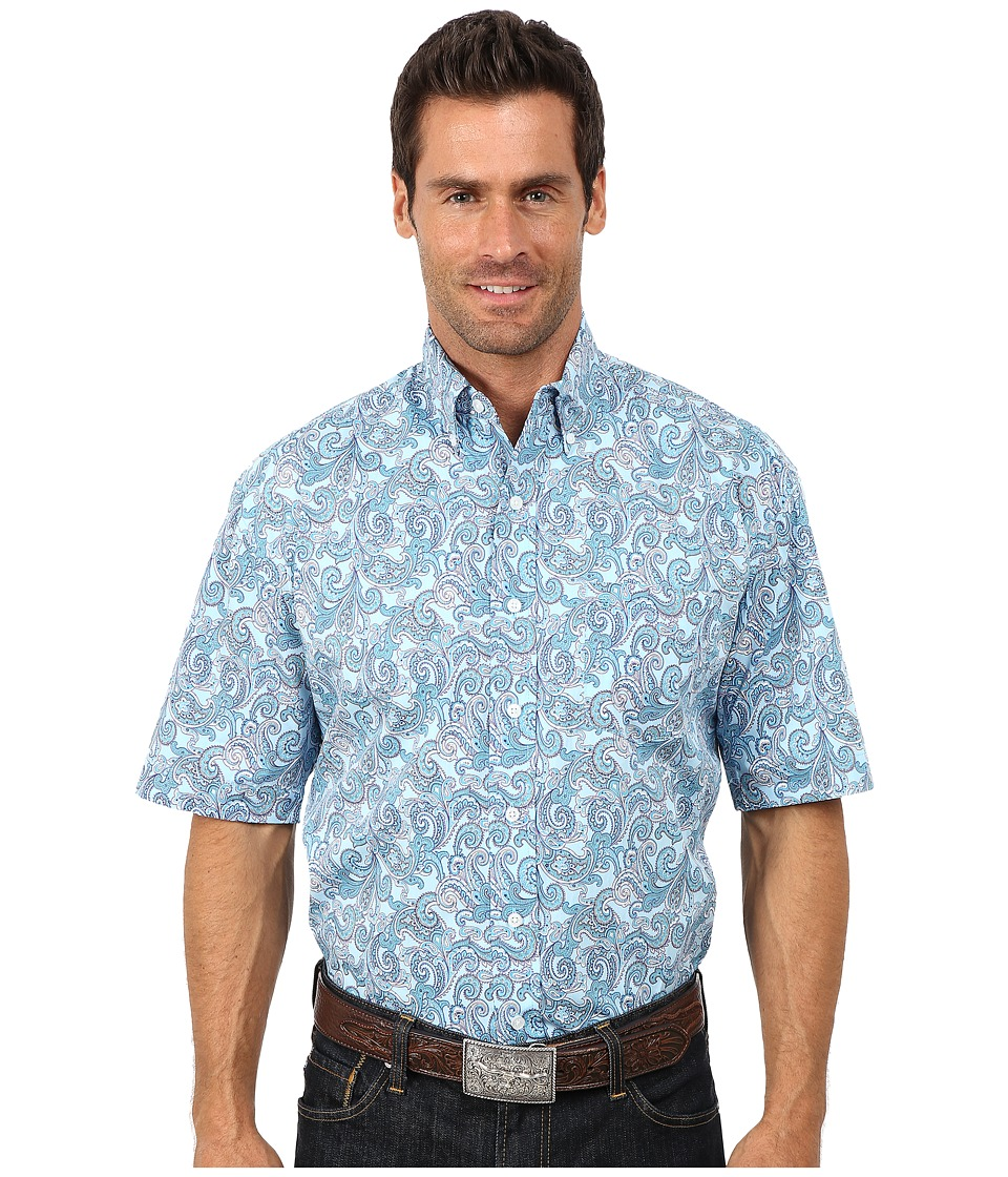 Stetson - Surfs Up Paisley Print On Poplin (Blue 1) Men's Long Sleeve Button Up