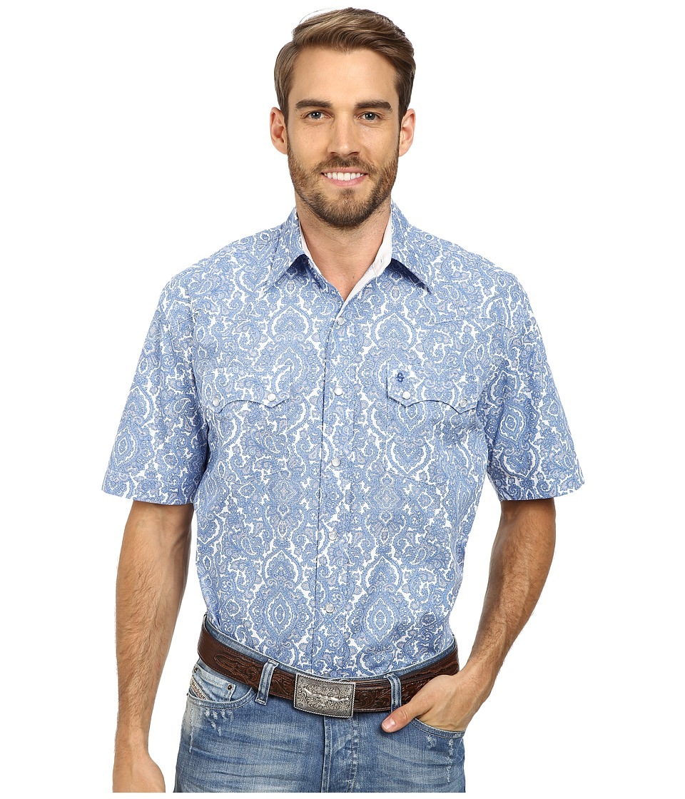 Stetson - Pilagree Paisley Print On Poplin (Blue 1) Men's Long Sleeve Button Up
