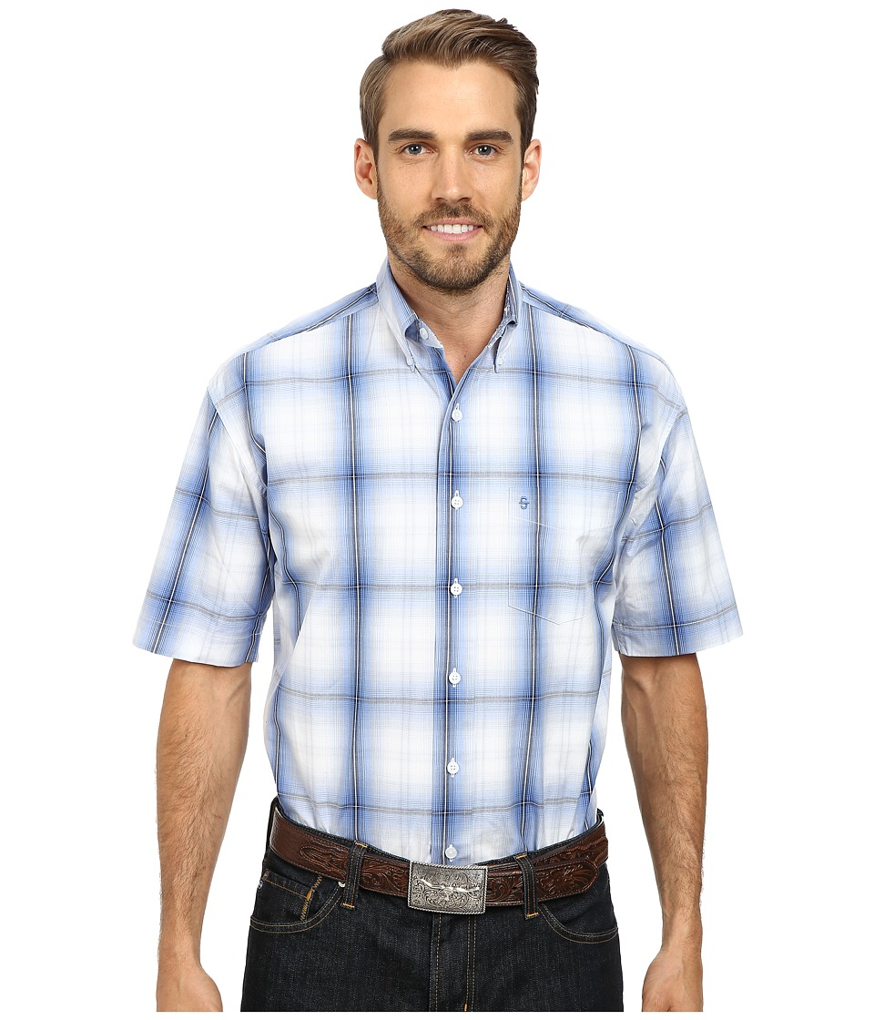 Stetson - Hunter's Plaid Flat Weave w/ Satin Stripe (Blue 1) Men's Long Sleeve Button Up