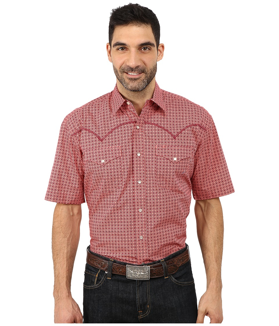 Stetson - Italia Print On Poplin (Red 1) Men's Long Sleeve Button Up
