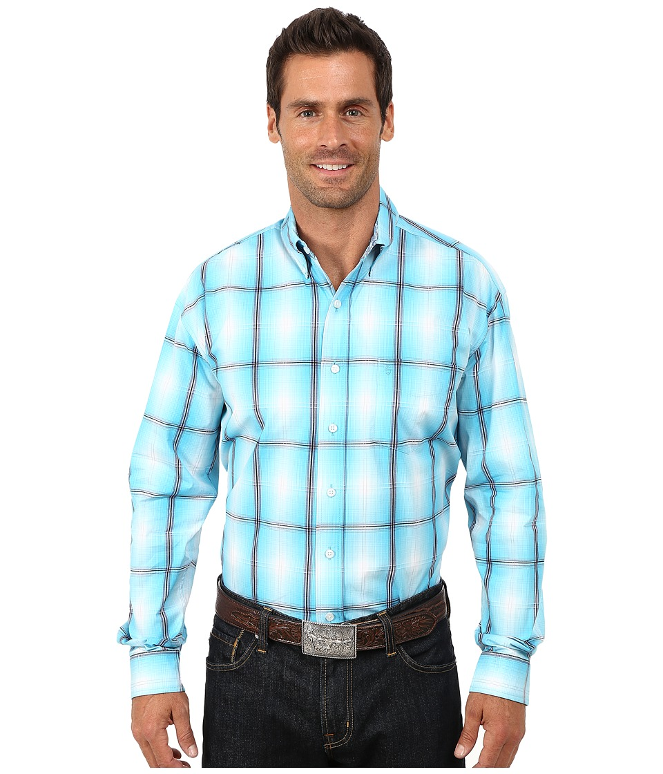 Stetson - Smokey Ombre Plaid Flat Weave w/ Satin (Blue 2) Men's Clothing