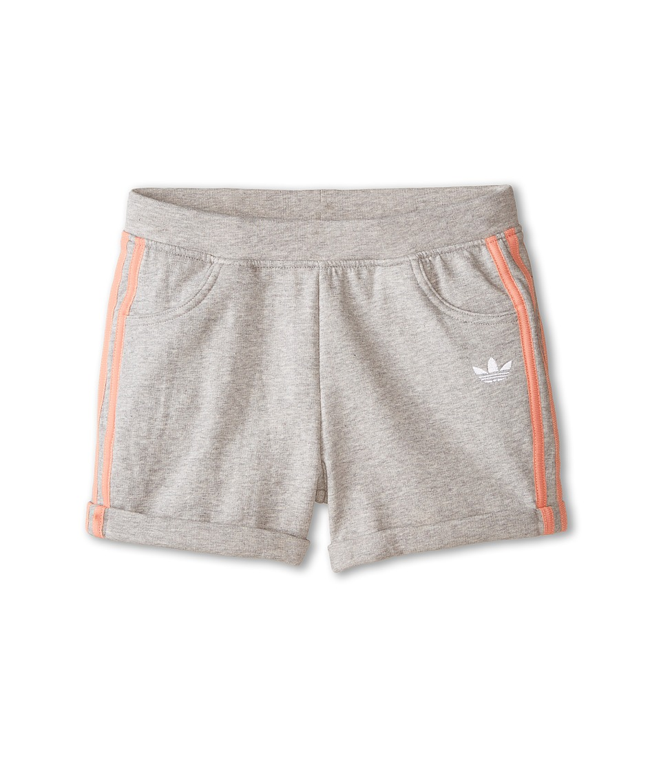 adidas Originals Kids - Good Vibrations French Terry Short (Little Kids/Big Kids) (Medium Grey Heather/Dust Pink) Girl's Shorts
