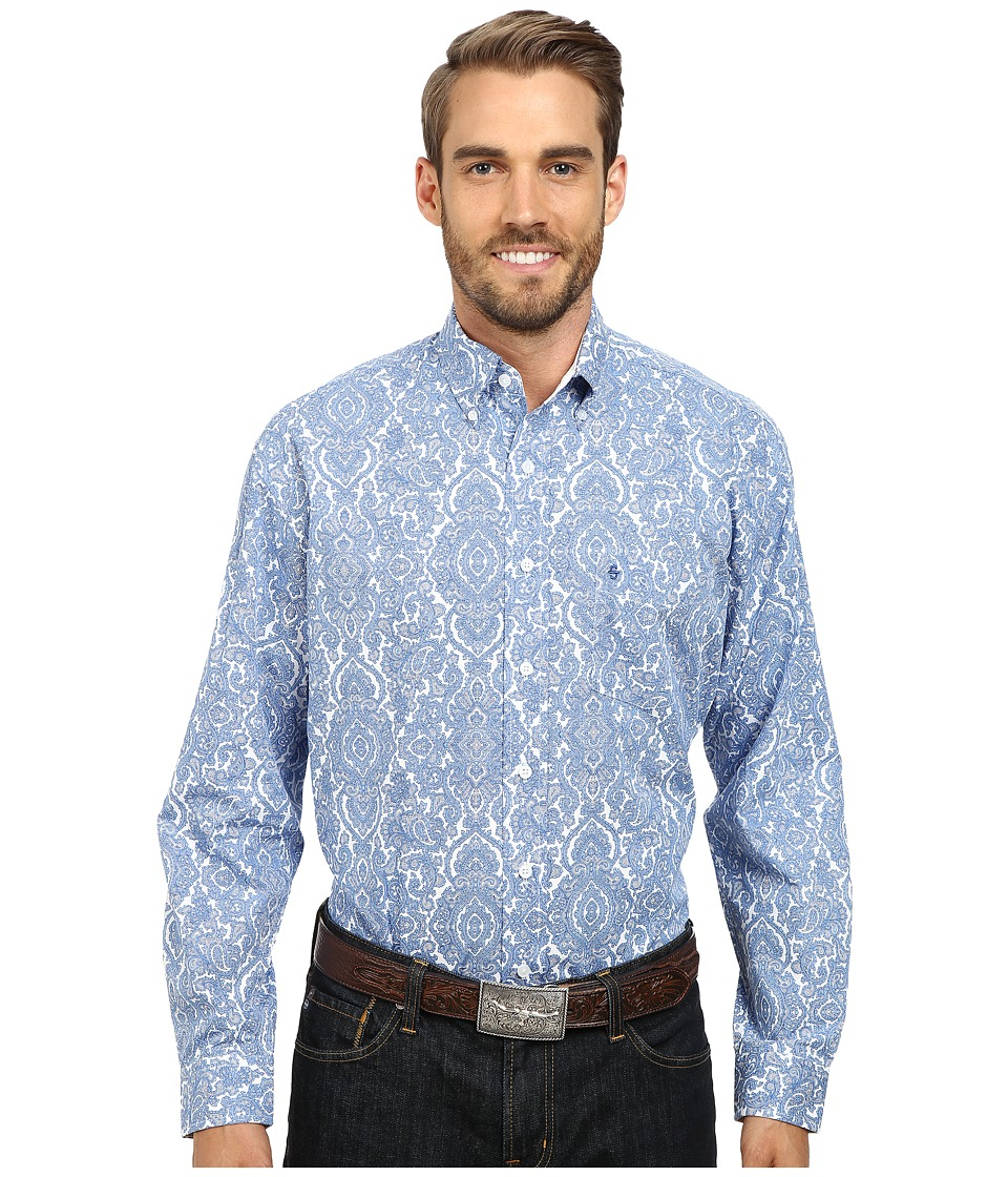 Stetson - Pilagree Paisley Print On Poplin (Blue 2) Men's Long Sleeve Button Up
