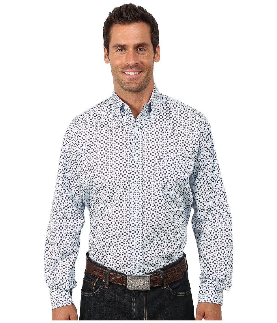 Stetson - Squares Diamonds Print On Poplin (Blue 2) Men's Long Sleeve Button Up