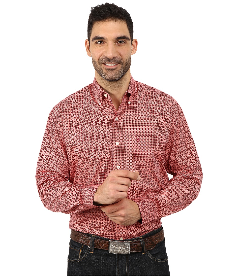 Stetson - Italia Print On Poplin (Red 2) Men's Long Sleeve Button Up