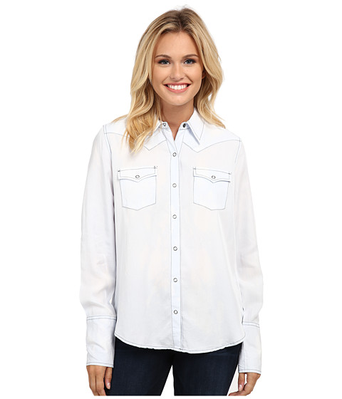 Stetson - Bleached Out Tencel Western Shirt (Blue) Women