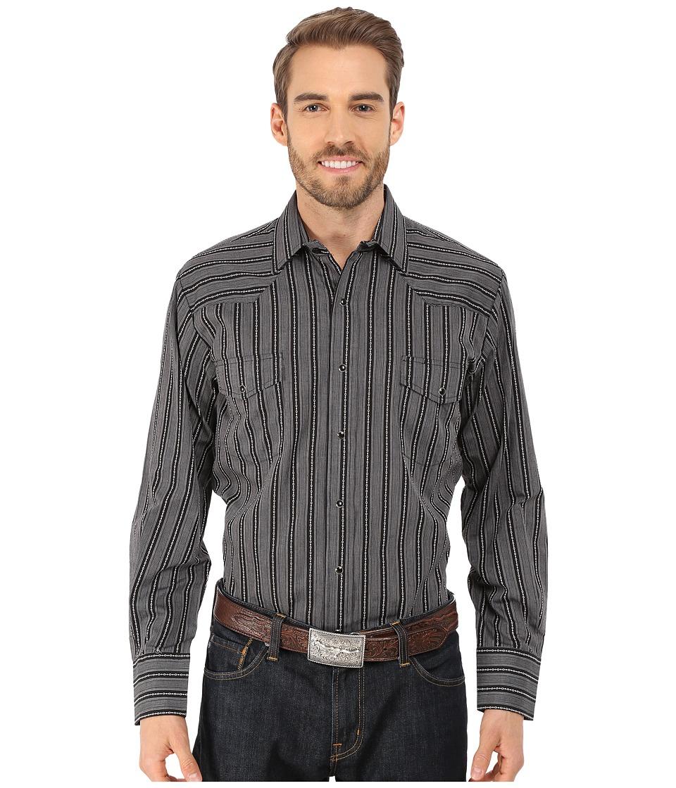 Roper 9733 Black Dobby Stripe Black Mens Long Sleeve Button Up