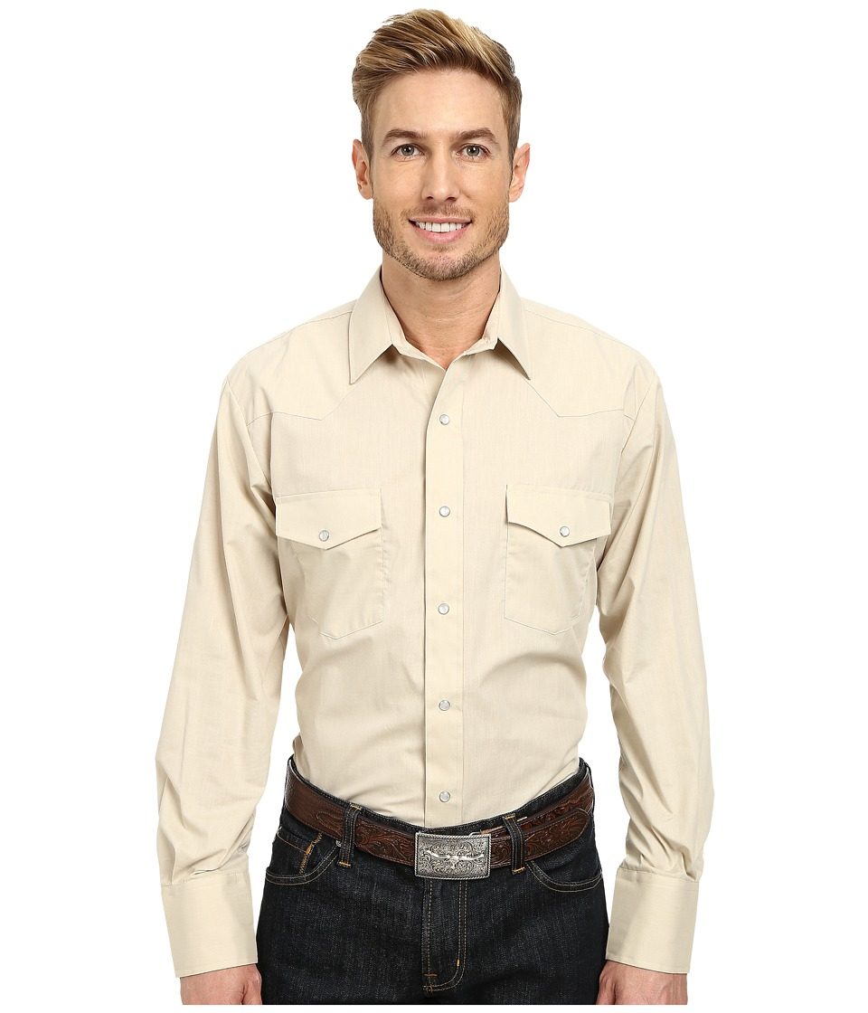 Roper - 9844C2 Solid Broadcloth - Tan (Tan) Men's Long Sleeve Button Up
