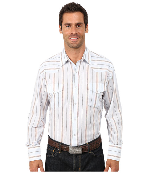 Roper - 9734 Lt. Blue Brown Stripe (Blue) Men's Clothing