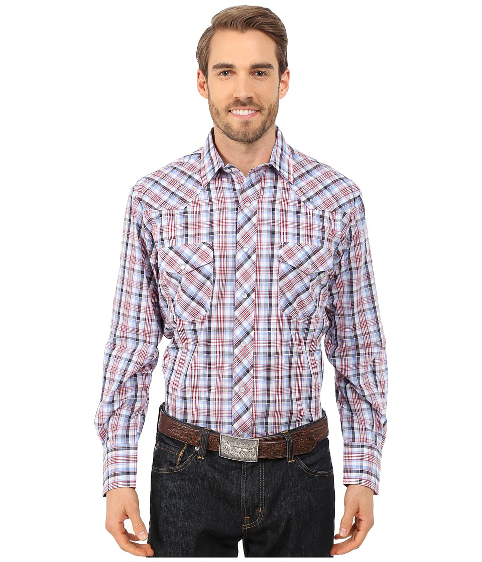 Roper - 9738 Red, White, Blue Grid (Multi) Men's Long Sleeve Button Up