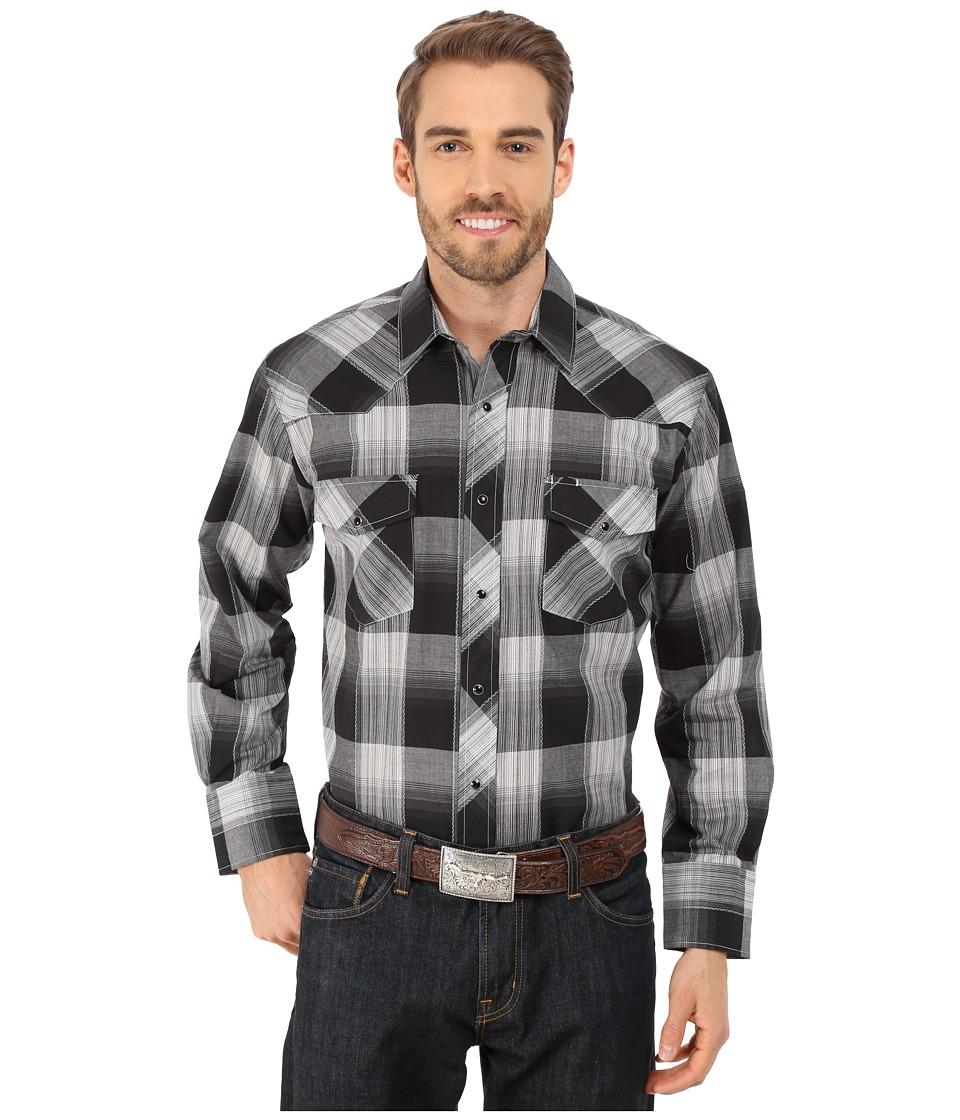 Roper - 9736 Large Black Grey Plaid (Black) Men's Long Sleeve Button Up