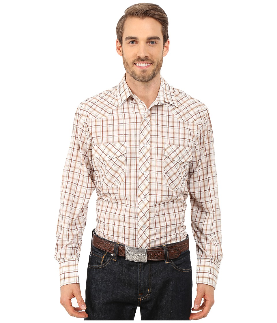 Roper - 9737 Brown Tan Grid w/ Lurex (Brown) Men's Long Sleeve Button Up