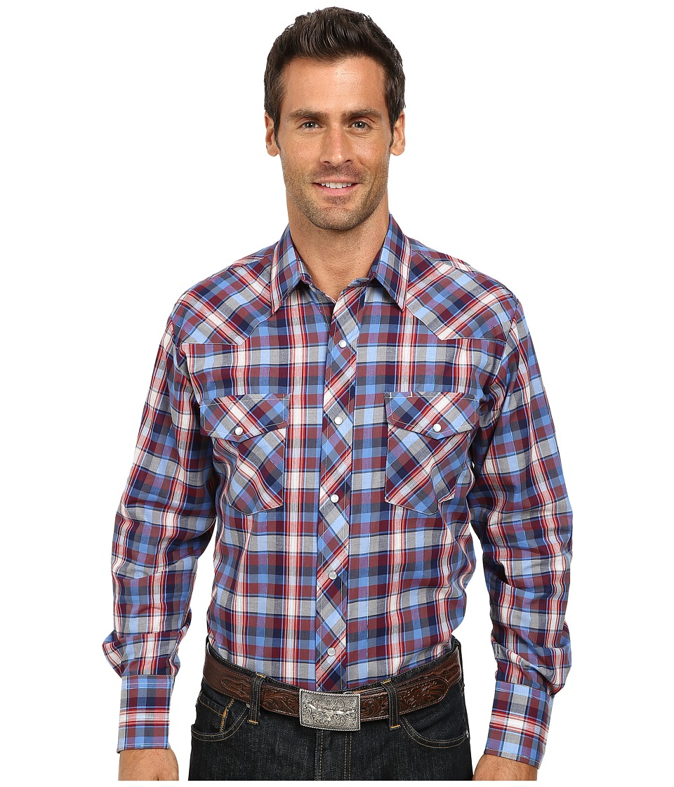 Roper 9743 Blue Red Plaid w- Blue Lurex Blue Mens Clothing