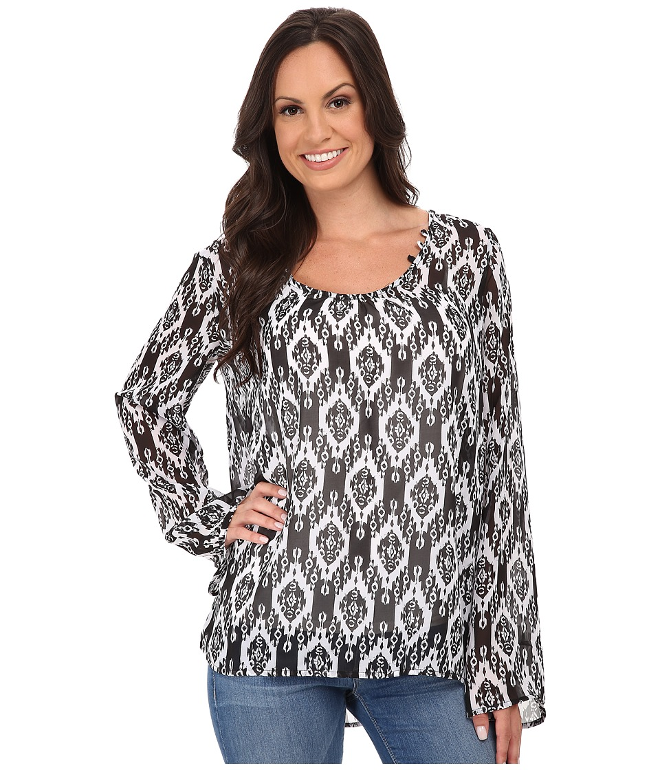 Stetson - Aztec Print Chiffon Peasant Top (Black) Women's Clothing