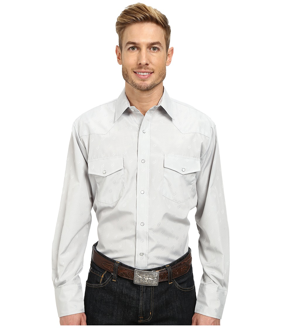 Roper - 9849 Tone On Tone Horsehead (Grey) Men's Long Sleeve Button Up